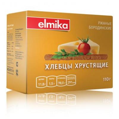 Хлебцы хрустящие Ржаные Бородинские 110 гр Эльмика