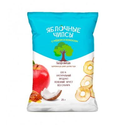 Чипсы яблочные с медом и кокосом  25 гр Здороведа
